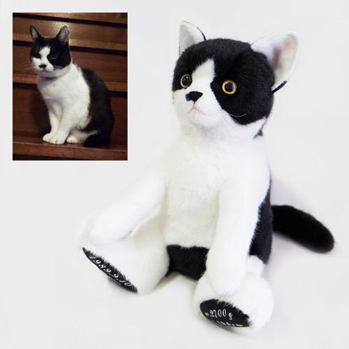 両親へのプレゼント ハチワレ猫 ペットのぬいぐるみ ウェイトドール