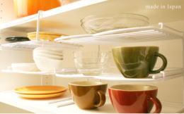 種類別に出し入れし易い食器棚に ペア スタックラック 2個組