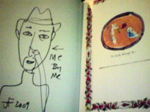 Jeffrey Fulvimari の本にジェフ自身の自画像を描いてもらってました〜!!
