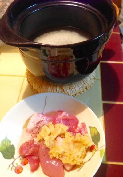 土鍋料理 材料1 鶏肉ひと口大に