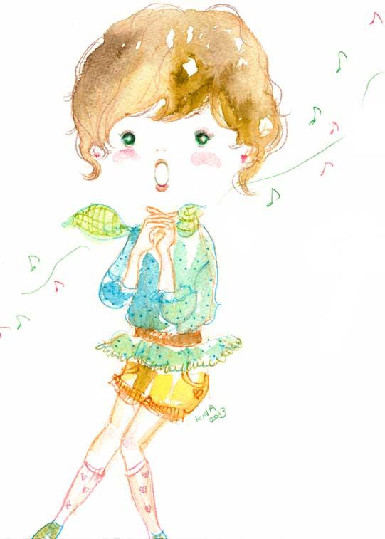 KINA イラスト 歌う少女