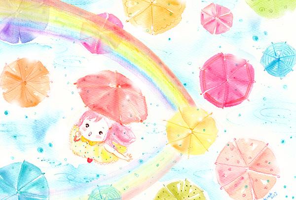 KINA(木南沙織)イラスト 傘の日のトキメキ