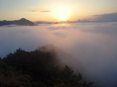 熊野古道ツアー 百間ぐら 夕日と雲海