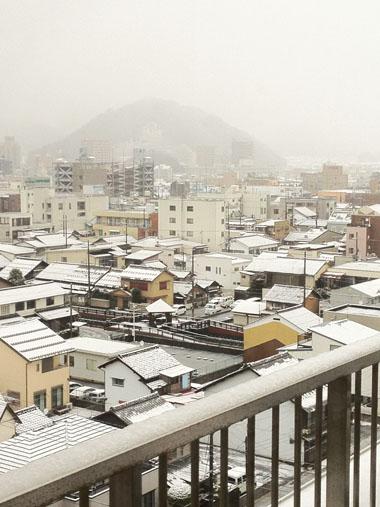 病院からみた雪景色