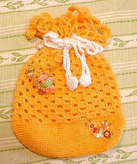 小桜オレンジ巾着