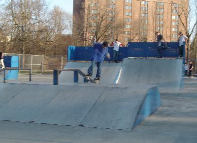 スケートパークにはインラインスケーターやスケートボーダーが集まる