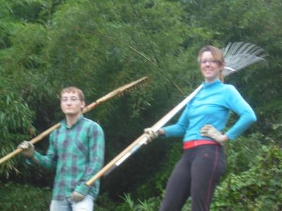 夏茶林とミカエルの刈草集め