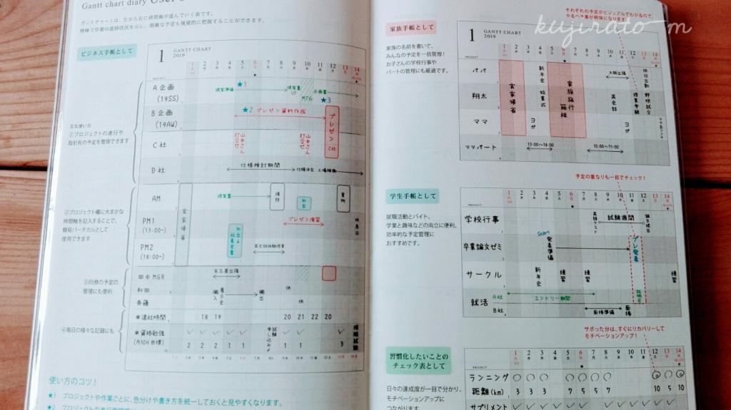 今年の手帳は、ビジュアル視覚的に把握することが出来るガントチャート付き!