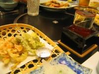 日本酒に野菜の天ぷら