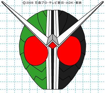 仮面ライダーW(ダブル) ダブル完成01 イラストの描き方 サイクロンジョーカー
