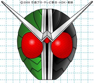 仮面ライダーW(ダブル) ダブル完成02 イラストの描き方 サイクロンジョーカー
