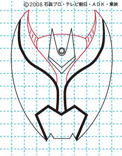仮面ライダーキバ イラストの描き方 キバ(キバフォーム) MASKED RIDER KIVA04