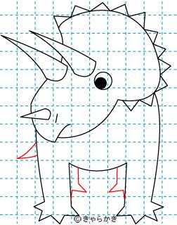 トリケラトプス 恐竜 イラストの描き方 Dinosaur06