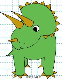 トリケラトプス 恐竜 イラストの描き方 Dinosaur 完成01