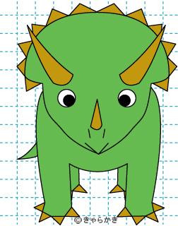 トリケラトプス 恐竜 イラストの描き方 Dinosaur 完成02
