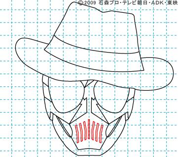 仮面ライダーW(ダブル) 仮面ライダースカル イラストの描き方 おやじさん08