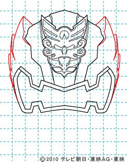 天装戦隊ゴセイジャー ゴセイナイト イラストの描き方 gosei knight05