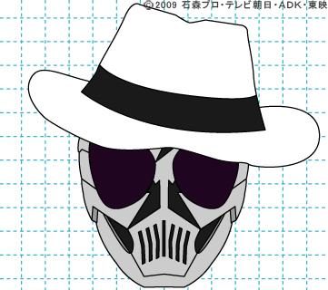 仮面ライダーW(ダブル) 仮面ライダースカル イラストの描き方 おやじさん完成01