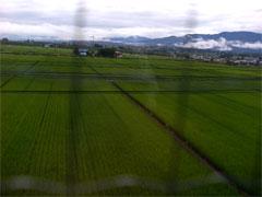 食堂から見える会津の山々