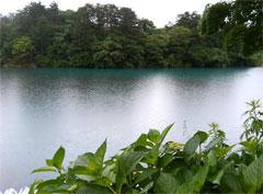 手前と奥の湖面の色の違いが分かるかな〜。。。