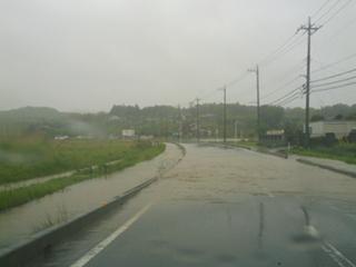 道路が冠水していました。 (>_<)