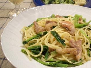 鶏肉と青菜のスパゲッティ