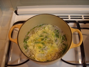 水菜とシラスの卵とじ
