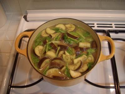なすと小松菜のお味噌汁
