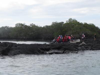 ボートで島に上陸