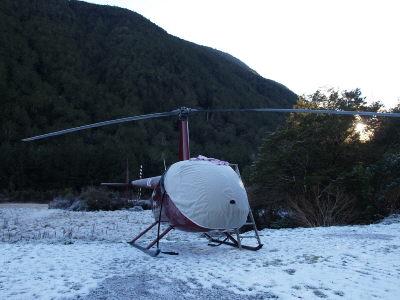 凍りついたヘリ