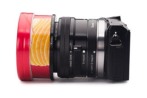 宙玉+チップスターの空き箱(長さ30mm)、ステップアップリング 52-67mm、ステップアップリング 40.5-52mm、E PZ 16-50mm F3.5-5.6 OSS、ケンコー デジタル接写リング ソニーα用 12mm、α NEX-5R