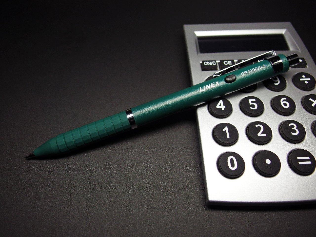 ビジネスマンの製図用シャープ(その18) 「LINEX DP1000」~ 0.3/0.5/0.7/0.9mmm グリーンのみ  軸径(本軸部実測):9.3mm 重量(実測):9.1g 1,500円(税抜き)