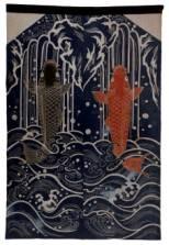 5月の節句に飾る幟。力強い鯉の瀧登りの図柄は、
