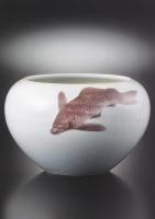 磁製鯉図鉢