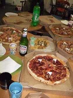 一面のピザ!