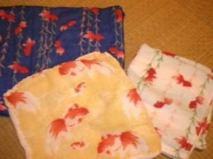 金魚のタオル