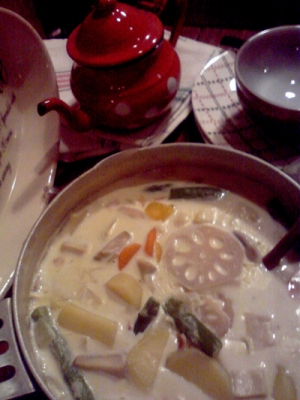 「ジャガイモとレンコンのミルククリームスープ」1
