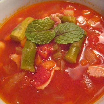 豆とアスパラのトマトスープ2