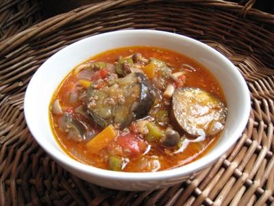 ナスと挽肉のトマトスープ