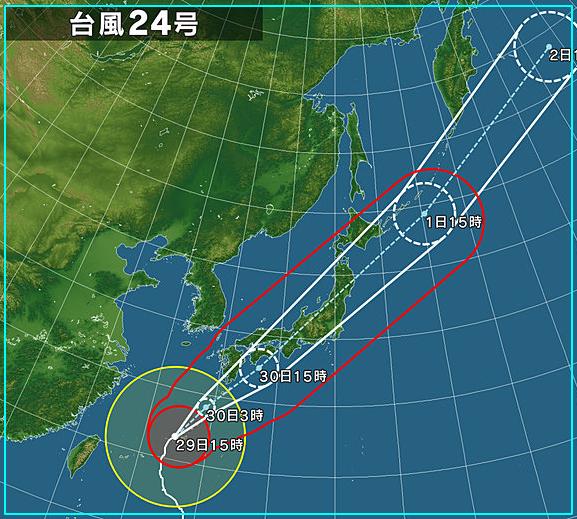 台風24号2018tenki