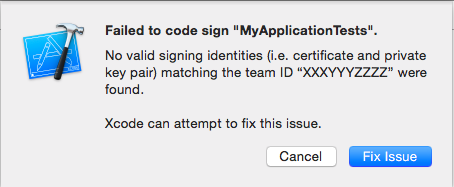 Failed to code sign Tests