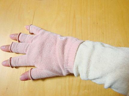 やけどに内絹外綿手袋にシルクシート