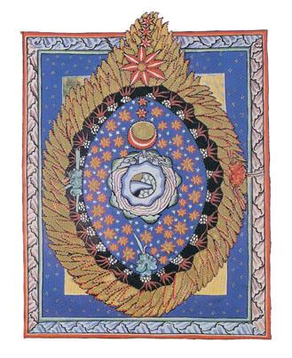 卵形または火焔太鼓形の宇宙像のヴィジョン