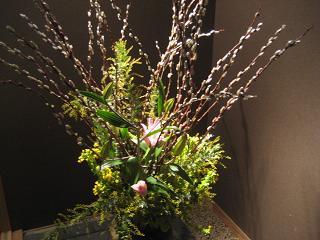 あかめ柳、アカシア、菜の花、百合