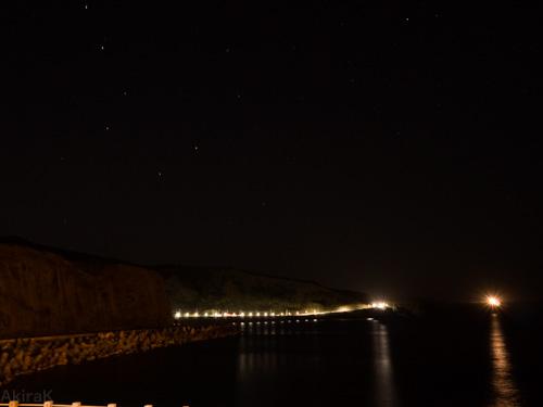 三池港から北斗七星と北極星