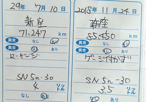 オイル交換の記録