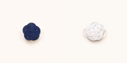 水引帯留 うめ(藍色/純白)