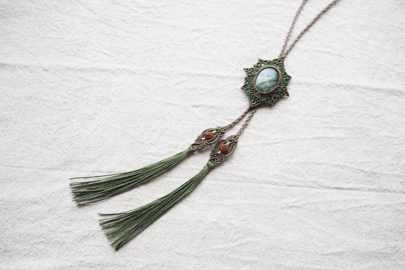 マクラメ,マクラメ編み,ネックレス,アクセサリー,天然石,