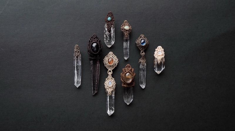 マクラメ,マクラメ編み,天然石,水晶,水晶原石,クリスタル,ペンダント,ネックレス,