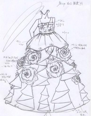 デザイン画 子供用発表会ドレス オーダー 神奈川県